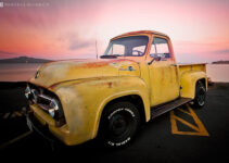 A Vintage Ford 1955 F100 Pickup Truck.