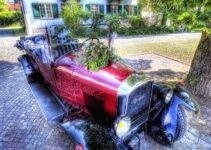 The Red Vintage Car Planter