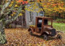 Autumn Leaves Vintage Pickup Truck
