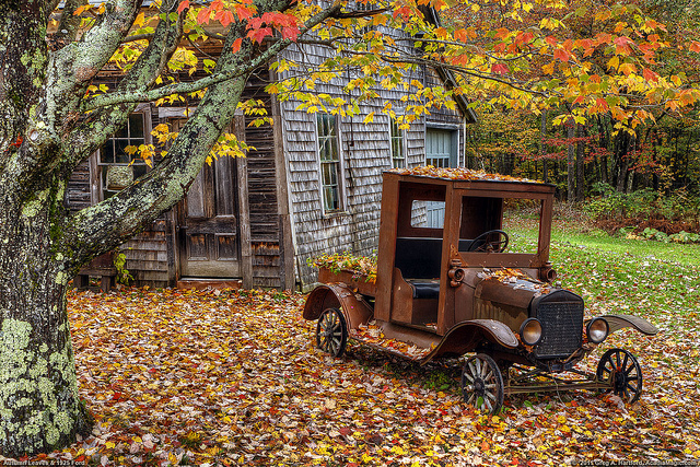Autumn Leaves Vintage Pickup Truck