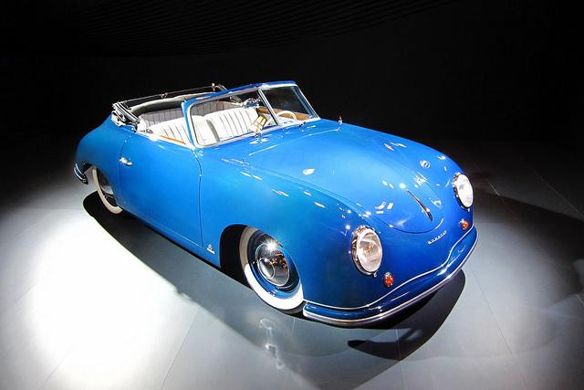 Baby Blue Porsche 356 convertible sports car