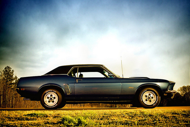 Dark Blue Ford Mustang muscle car