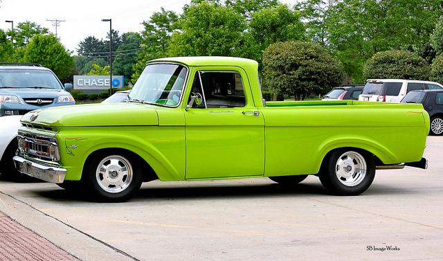 Bright green pickup truck