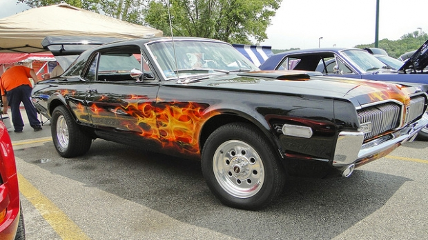 1968 Mercury Cougar. Muscle car in flames!
