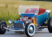 Hot Rod with Skull and Flames